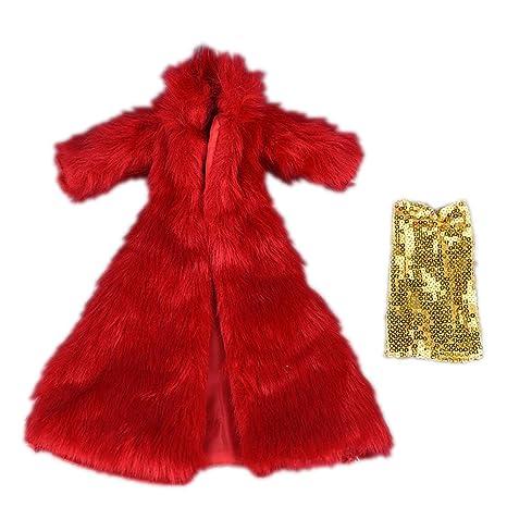 Zantec Ropa 30 cm Mini Abrigo Rojo + lustrino Amarillo Inner Vestido Alla Moda (no