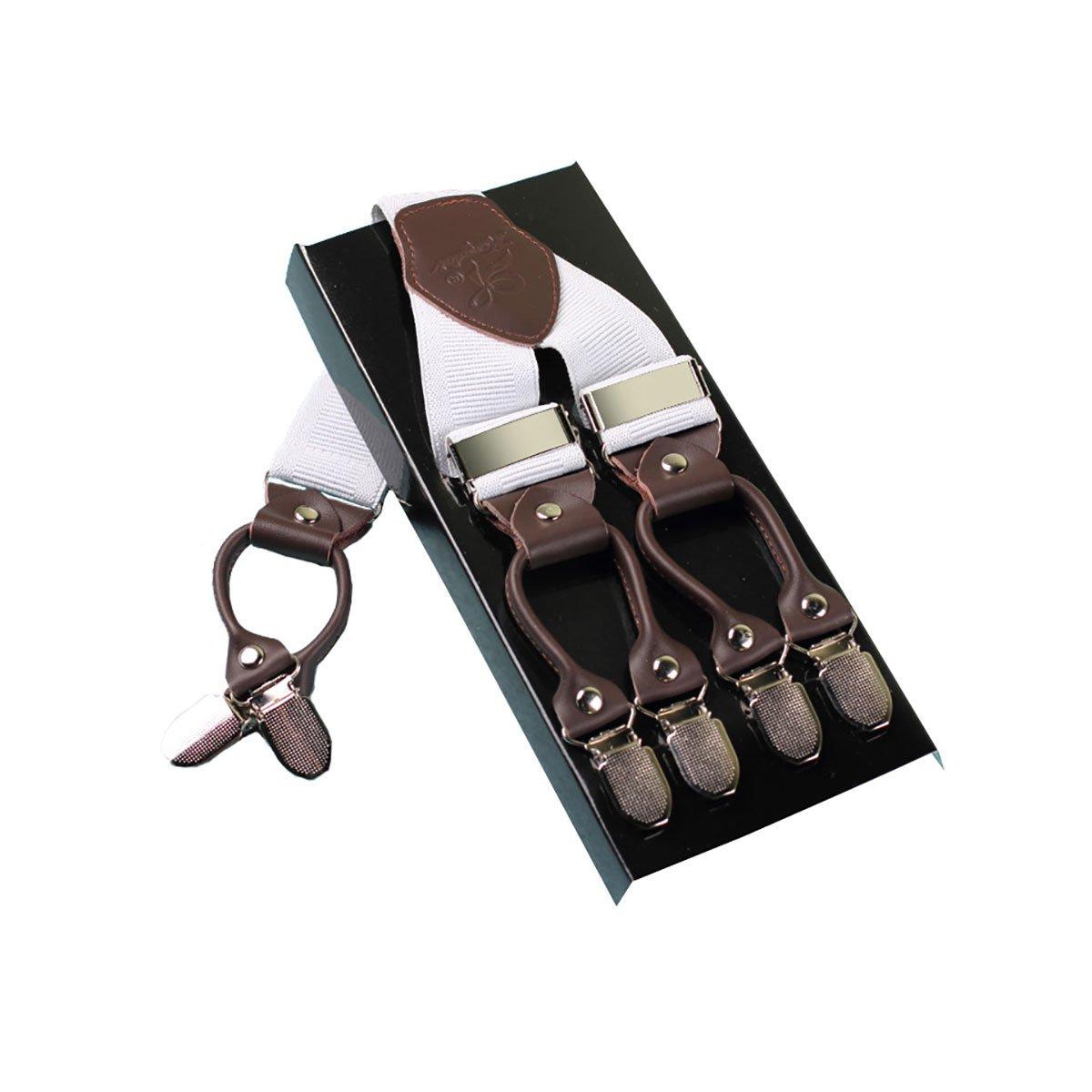Robusto Uomini Braces KANGDAI 6 Fibbie Y Indietro 10 colori Suspendenti regolabili elastici durevoli Forti clip metalliche