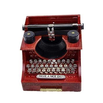 ZhongYi Retro Reloj de la máquina de Escribir con joyero de cajones octava: Amazon.es: Jardín