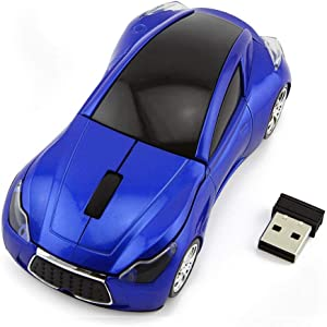 Sport Car Shape Mouse 2.4GHz Wireless Optical Gaming Mice 3 Buttons DPI 1600 Mouse for PC Laptop Computer (Blue)