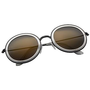 49ac8b4dce VIVIENFANG Women Retro Polarized Round Sunglasses Fashion Mirror Lens Circle  Shades 86782B Gold