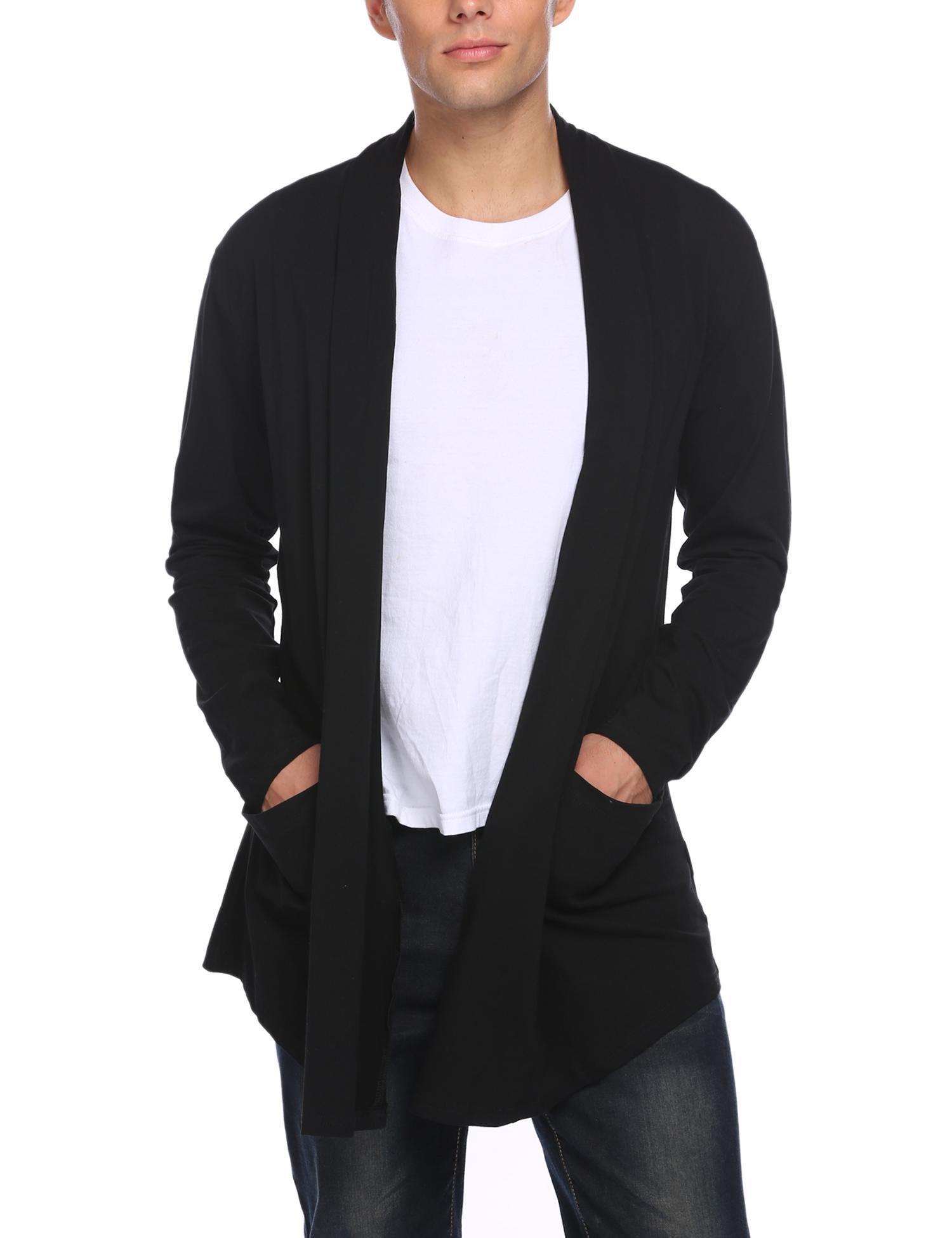 Donet Men's Ruffle Shawl Collar Cardigan Lightweight Cotton Blend Long Length Drape Cape Black XX-Large