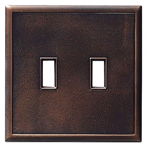 (Double Toggle Light Switch Plates Questech Screwless Wall Plate Covers | No Visible Screws (Oil Rubbed Bronze))