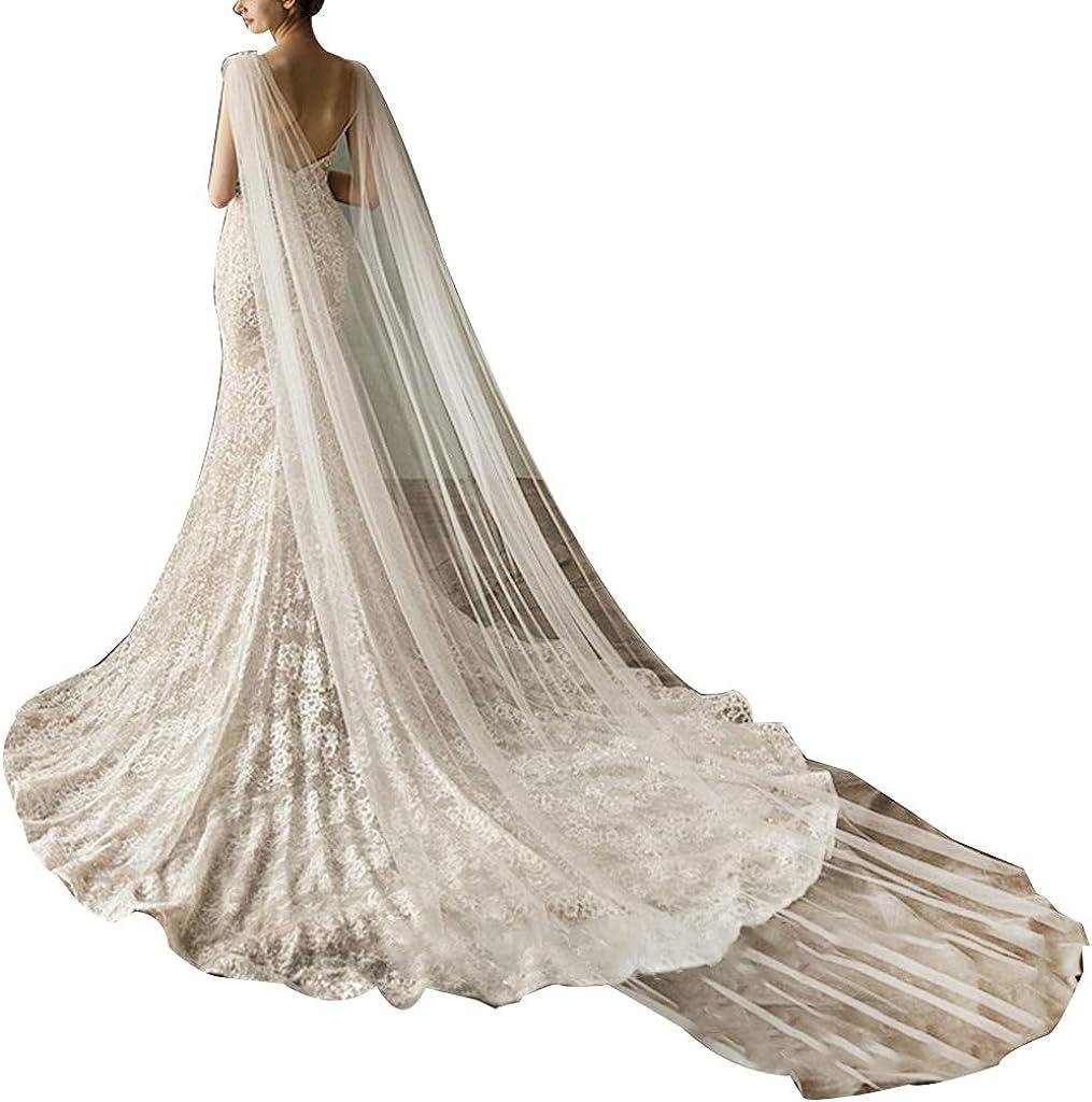 cici store Bridal Wedding Shoulder Capes, Long Wraps Cloak with Imitation Crystal Decorative