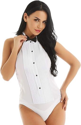 MSemis Body Esmoquin para Mujer Body Camiseta de Vestir Mono Blusa Cuello Hálter con Pajarita Disfraz Camarera Sexy Traje Formal Jefa Reunión Oficina: Amazon.es: Ropa y accesorios