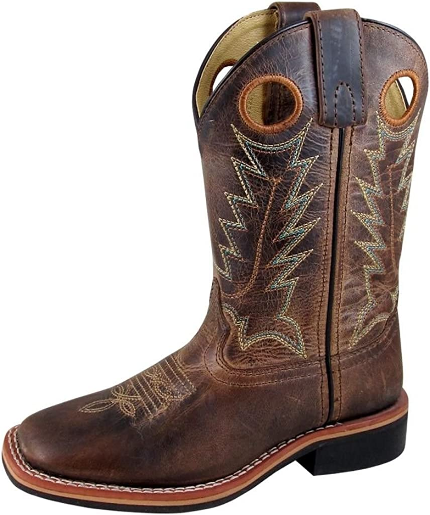 Smoky Mountain Boots | Jesse Series | Youth Western Boot | Square Toe Leather | Rubber Sole & Block Heel | Leather Upper & Man-Made Lining