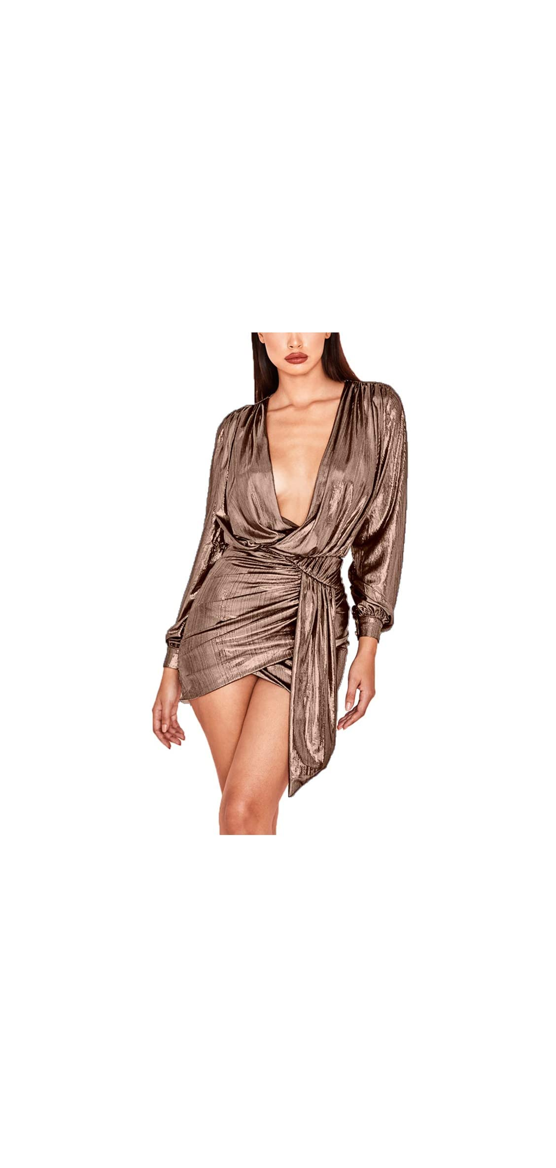 Womens Sexy Deep V Neck Metallic Glitter Ruched Long