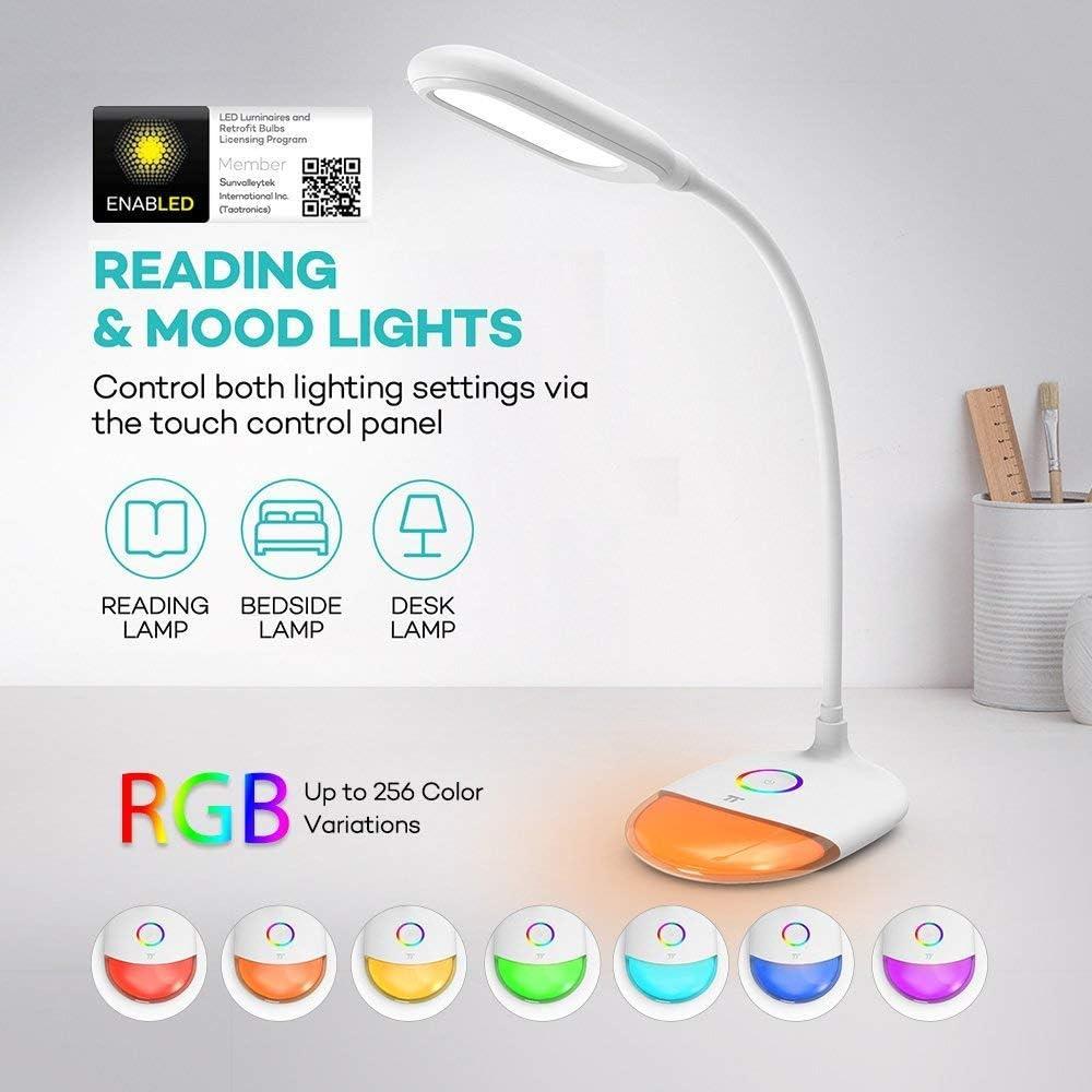 Schreibtischlampe TaoTronics Tischlampe LED RGB 256 Farblicht 7W Kinder
