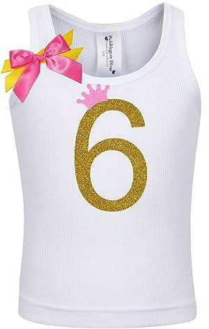 Bubblegum Divas Little Girls 6th Birthday Pink Gold Princess Shirt 4