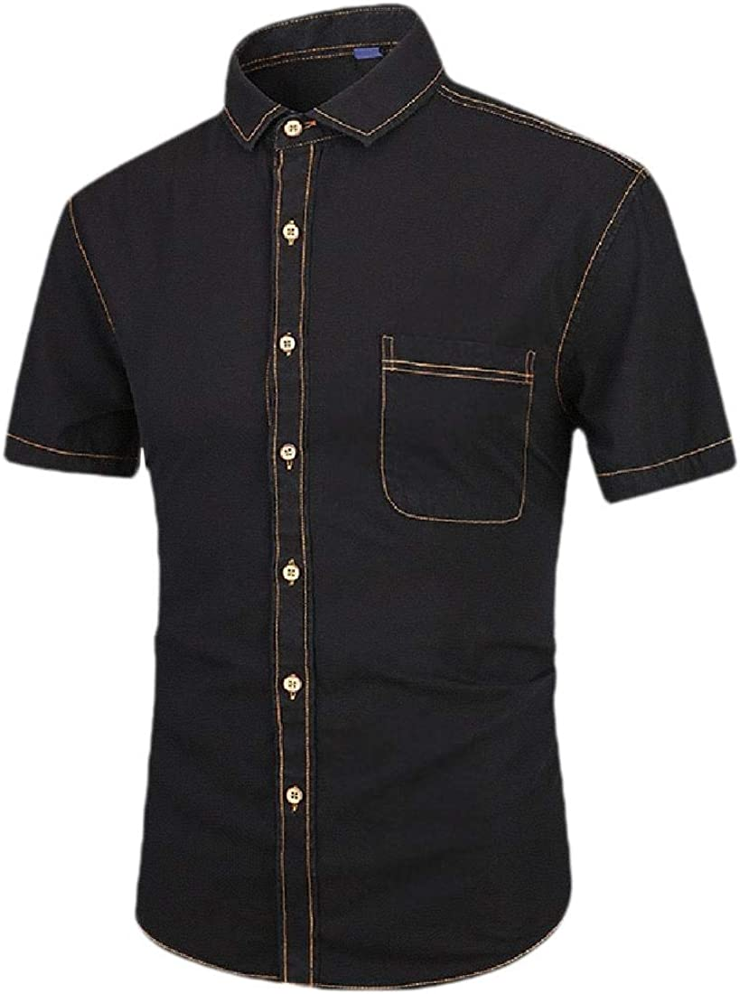 H.Wang Mens Fashion Cowboy Dress Shirt Short Sleeve Denim Button Down Shirt