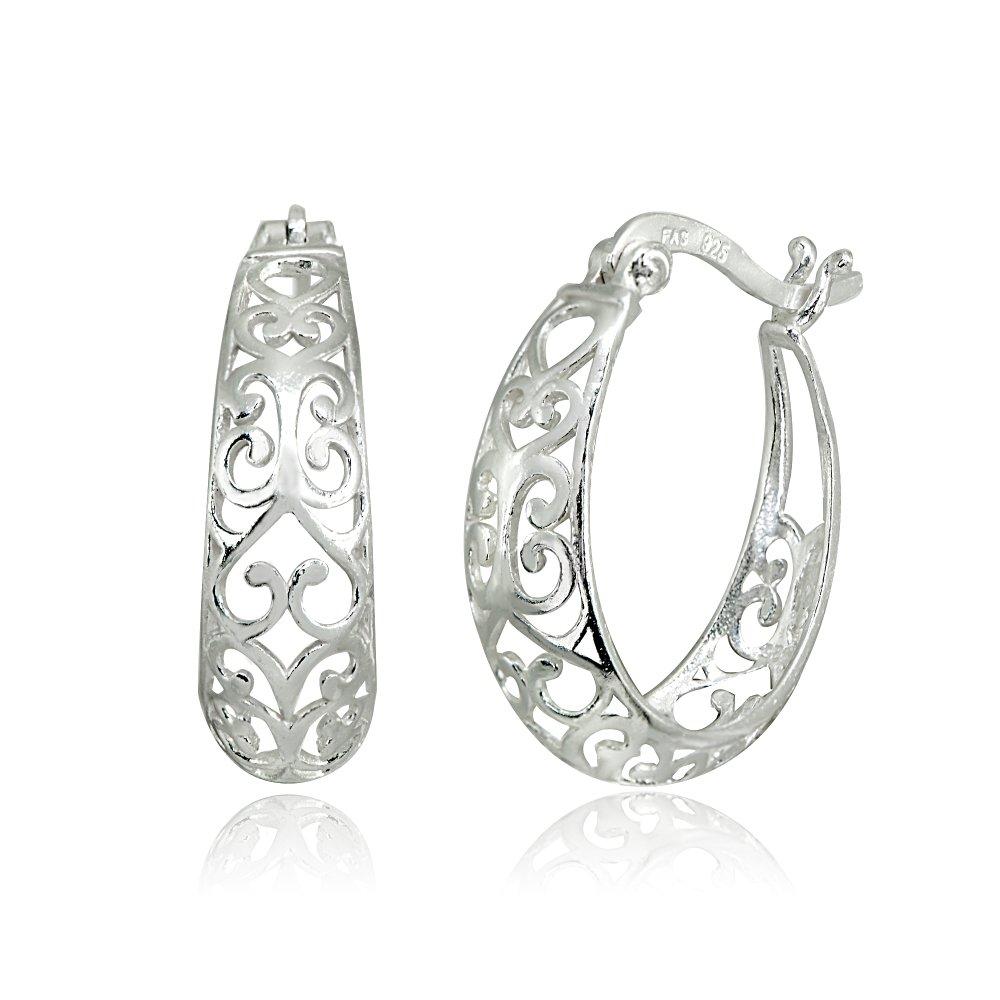 LOVVE Sterling Silver High Polished Filigree Heart Oval Hoop Earrings