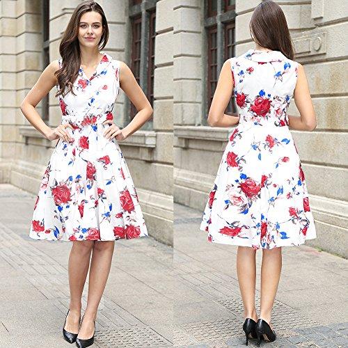 sin vintage de cuello rockabilly V desmontable con cinturón mangas en con Roja vestido 50s té Womens Rosa Cn8vWx50