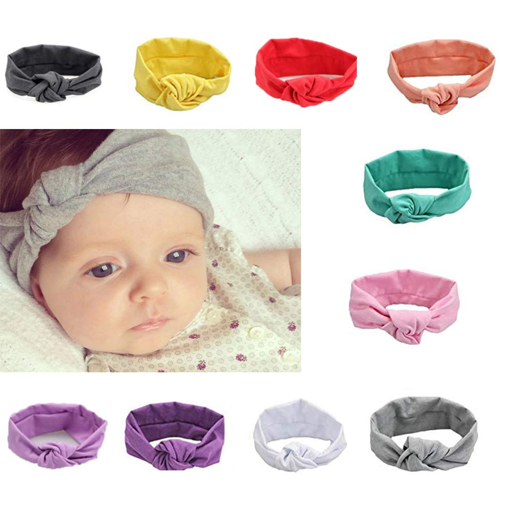 G-Tree fasce del bambino, 10 pacchetti neonate Knot Bow fascia, capa del bambino avvolge Accessori per capelli per il neonato delle ragazze del bambino HB01-10-w