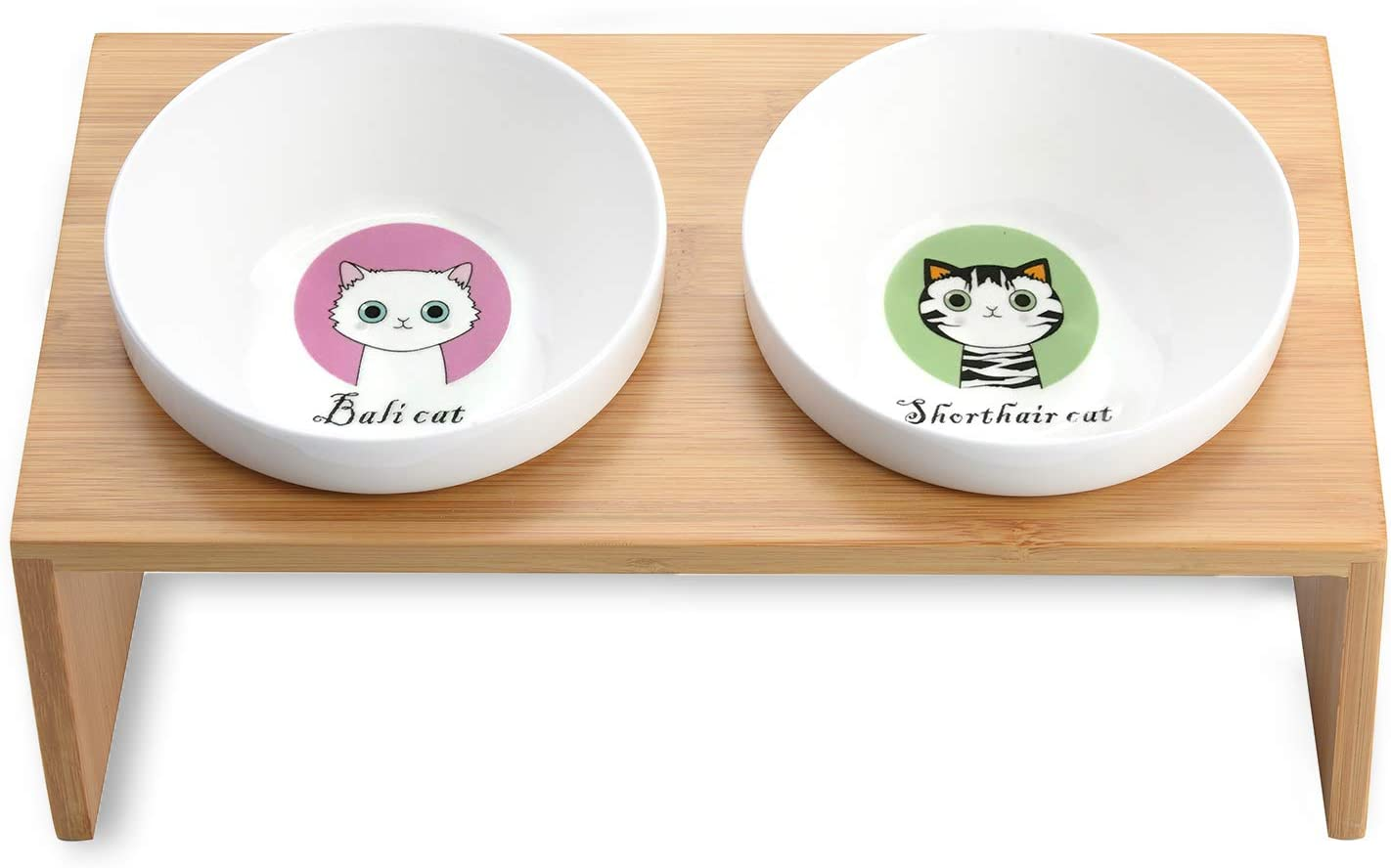 Lollimeow Pet Elevated Dog and Cat Wooden Rack Pet Feeder, Raised Stand Comes with Two Ceramic Bowls