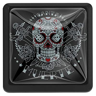 MEETNew 3 Pack Square Cabinet Drawer Knobs with Muerte Skull, Glass Cabinet Door Knob Furniture Pulls Handle for Home, Kitchen, Cupboard and Dresser, Kids Room: Home & Kitchen
