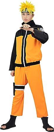 Adult Uzumaki Naruto Costume Anime Shippuden Cosplay Outfit Wig Kunai Headband