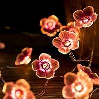 Flower String Lights, 30 LED Cherry Blossoms Light Post, Fairy Pink Cherry Blossom Lights, 3D Flower String Lights voor…