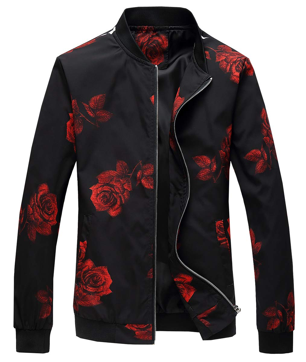 EMAOR Mens Men's Zipper Rose Flower Print Varsity Bomber Baseball Floral Jacket Coat Outwear by EMAOR Mens