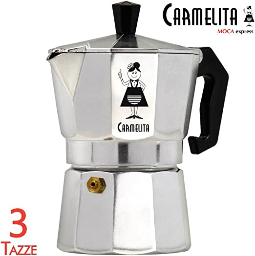 Bakaji - Cafetera tipo moka Carmelita para 3 tazas hecha de ...