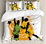 Sports Decor Duvet Cover Set by Ambesonne, Image of Two Basketball Players in A Heated Game Rings Stars in the Background Print, 3 Piece Bedding Set with Pillow Shams, Queen / Full, Orange Green