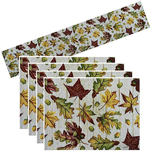 - Way to Celebrate Fall Leaves Table Runner 72 Inches with 4 Placemats Tapestry Bundle