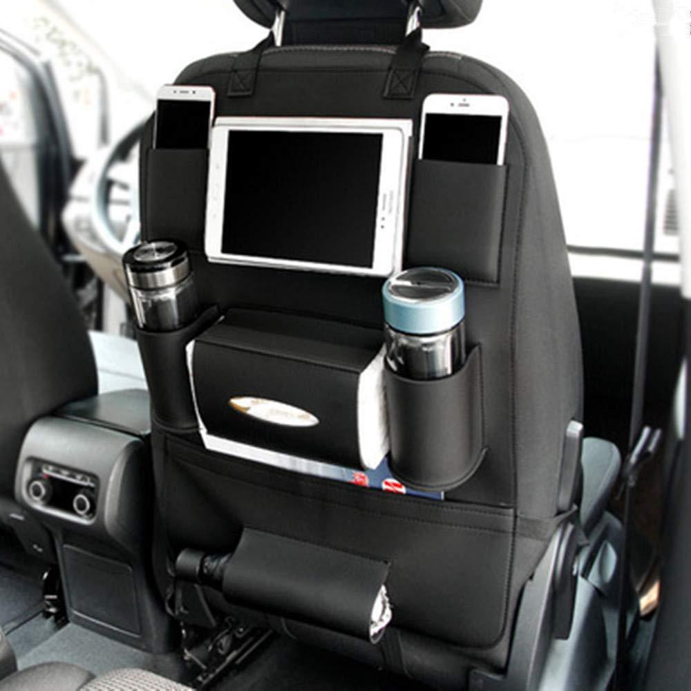 BININBOX Car Backseat Organizer PU Pocket Protector Kick Mat Auto for Baby Kids Travel Accessories Toy Bottle Storage Black