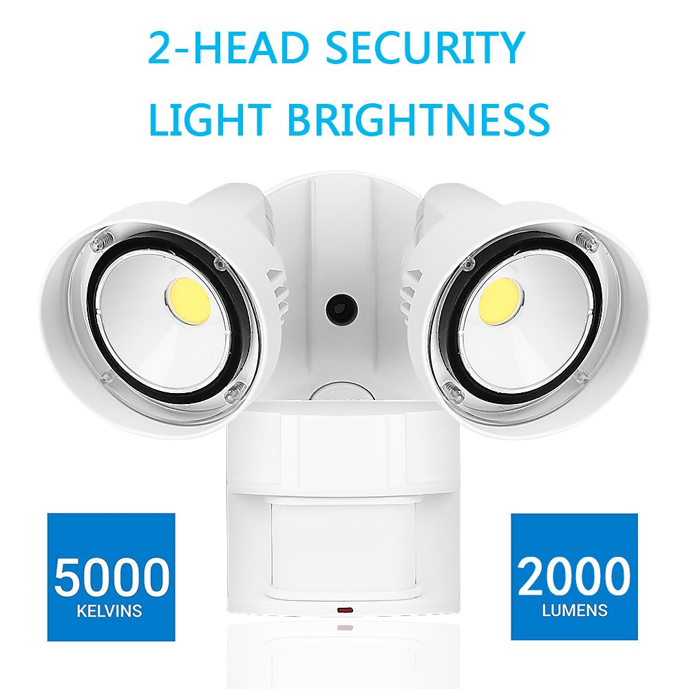 CINOTON 20W LED Security Lights Motion Outdoor,Infrared Motion Sensor Outdoor Flood Lights, 2 Head, Crystal White Glow 5000K Adjustable Dual Head by CINOTON (Image #8)