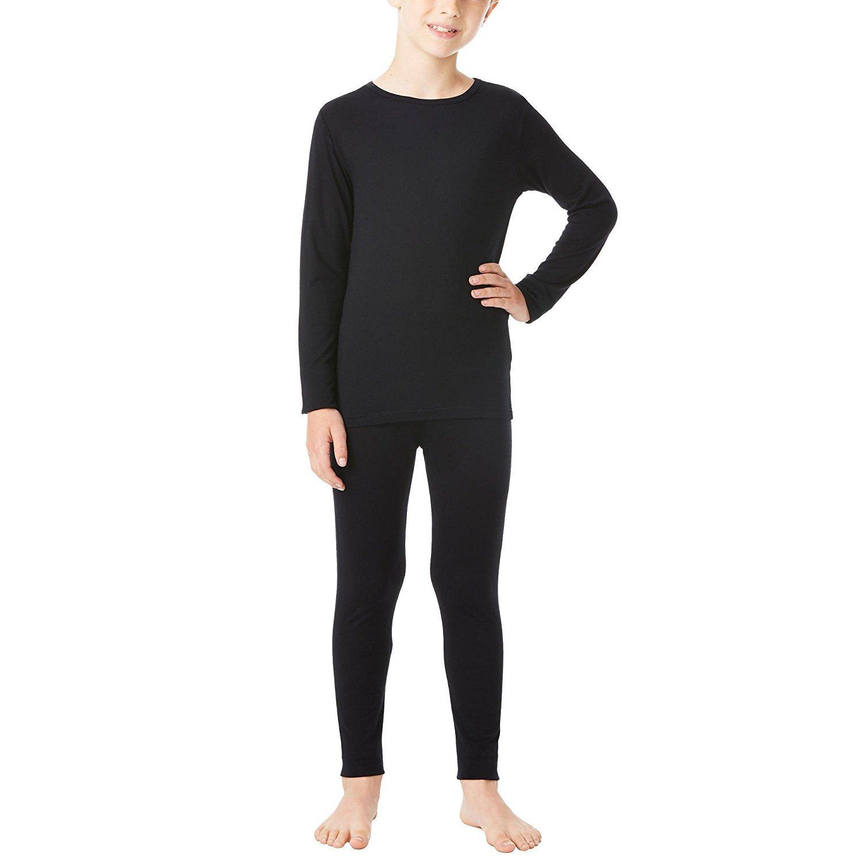 Black  Small 32 Degrees Weatherproof Big Boys Base Layer Thermal Shirt Long Underwear Set