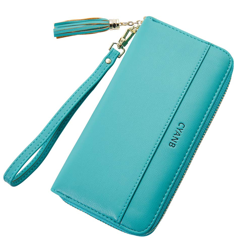 Cyanb Women Wallets Tassel Bifold Ladies Cluth Wristlet Wrist strap Long Purse Blue Green by Cyanb (Image #1)