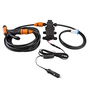 Bang4buck Portable Intelligent Electric Pressure Washer Pump 100W 160 PSI 12V High Pressure Powerful Washing Kit with 22 Inch PVC Hose for Home, Garden, Vehicles, Projects(100 W-Black Hose)