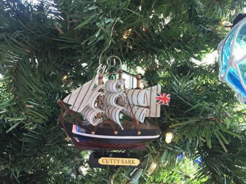 Cutty Sark Wood (Hampton Nautical Wooden Cutty Sark Tall Model Clipper Ship Christmas Ornament,)