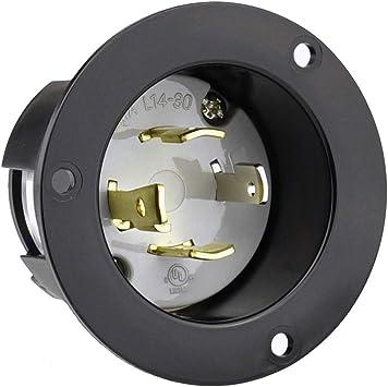 Replacement Flanged Inlet 30 Amp 125//250 Volt Male Twist Lock 4 Wire Nema L14-30