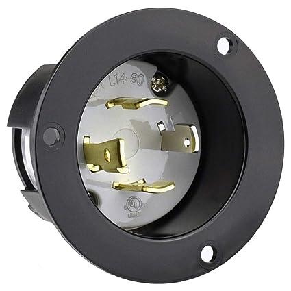 cllena nema l14-30 flanged generators power inlet/outlet receptacle, 30 amp  125/250v 7500w locking male plug socket (black) - - amazon com