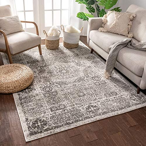 Well Woven Camila Medallion Ivory Distressed Traditional Vintage Persian Floral Oriental Area Rug 8×11 7 10 x 9 10 Carpet