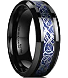 King Will DRAGON Mens 8mm Black Tungsten Carbide Ring Blue Carbon Fiber Celtic Dragon Wedding Band