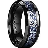King Will Dragon 8mm Mens Celtic Dragon Tungsten Carbide Wedding Band Ring Black/Gold/Rose Gold/Blue/Orange/Green Inlay