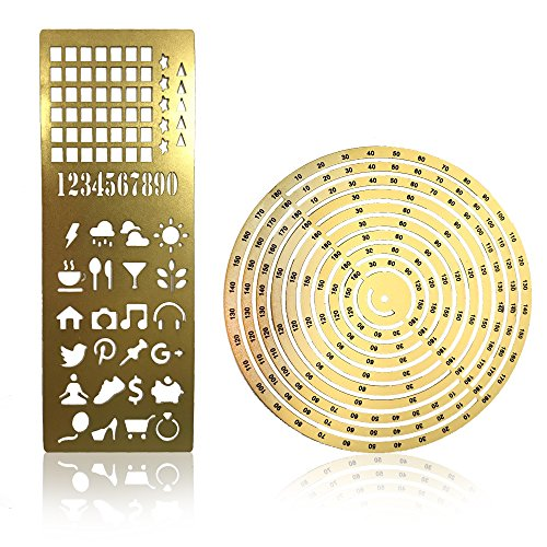 Premium Steel Metal Ruler Circle Stencil DIY Painting Letter Numbers Engraving Tool Template for Bullet Journal Adult Kids Calendar Notebook Planner Agenda Scrapbook Album Craft Supplies (Gold) by DHUNI