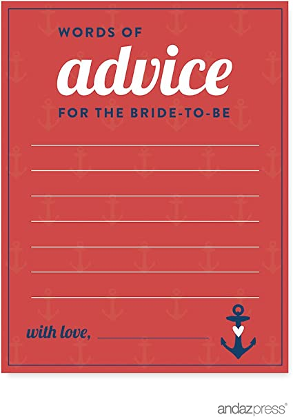 20-Pack Andaz Press Nautical Ocean Adventure Wedding Collection Bridal Shower Game Cards How Well Do You Know the Bride