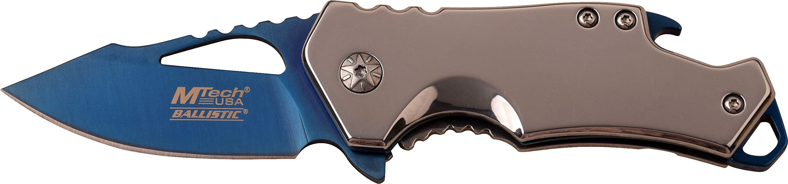 MTECH USA MT-A882SBL Spring Assist Folding Knife, Blue Straight Edge Blade, Silver Handle, 3-Inch Closed