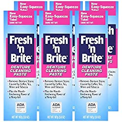 Fresh 'n Brite Denture Cleaning Paste, Paste with Minty Gel, 3.8 Ounce Tube (Pack of 3)