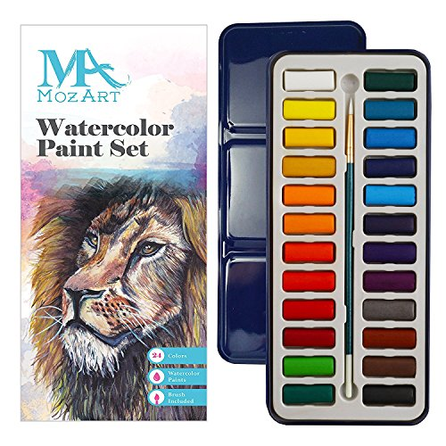 MozArt Supplies Watercolor Paint Set - 24 Vibrant Colors - Lightweight Portable - Perfect Beginners, Budding Hobbyists Artists - Paint Brush Included by MozArt Supplies