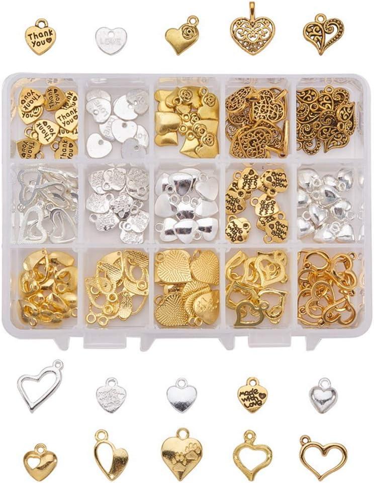 150 colgantes en forma de corazón, para hacer joyas, collares, pulseras, colgantes, abalorios, suministros de bricolaje, 15 estilos surtidos en 1 caja.