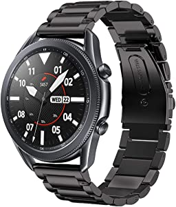 Shangpule Compatible for Samsung Galaxy Watch 3 45mm Bands / Gear S3 Band / Galaxy Watch 46mm Bands, 22mm Stainless Steel Metal Replacement Strap Bracelet Compatible Samsung Gear S3 Classic and S3 Frontier Smartwatch (Black)