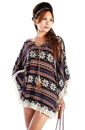 96b2fb48a Retro Style Native American BOHO Poncho Fits US Size 2 - 6 (Item# 834
