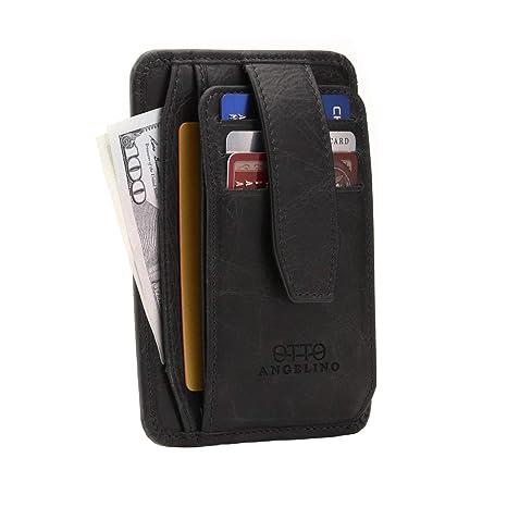 orologio a3284 8be97 Otto Portafoglio da Uomo Ultra Slim in Pelle - con Blocco RFID, Design  Minimalista e compatto - con chiusura a scatto, porta carte, documenti,  porta ...