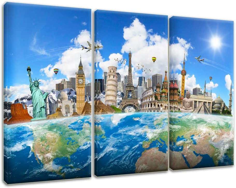 Artsbay Wonders of the World Canvas Wall Art Map Painting Travel Artwork for Modern Home Office Bedroom Decor Giclee Print Stretched Ready to Hang