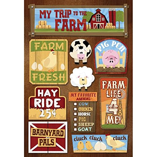 Farm Scrapbooking - Karen Foster Design Acid and Lignin Free Scrapbooking Sticker Sheet, My Trip to The Farm
