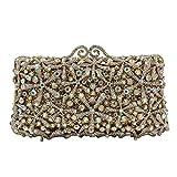 Flada Rhinestones Evening Bag Wedding Party Handbag Clutch Purse for Womens A-Gold