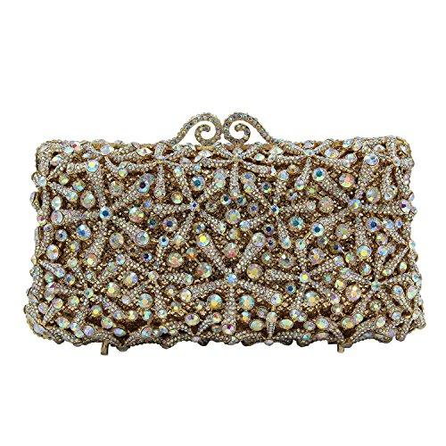 Flada Rhinestones Evening Bag Wedding Party Handbag Clutch Purse for Womens A-Gold by Flada