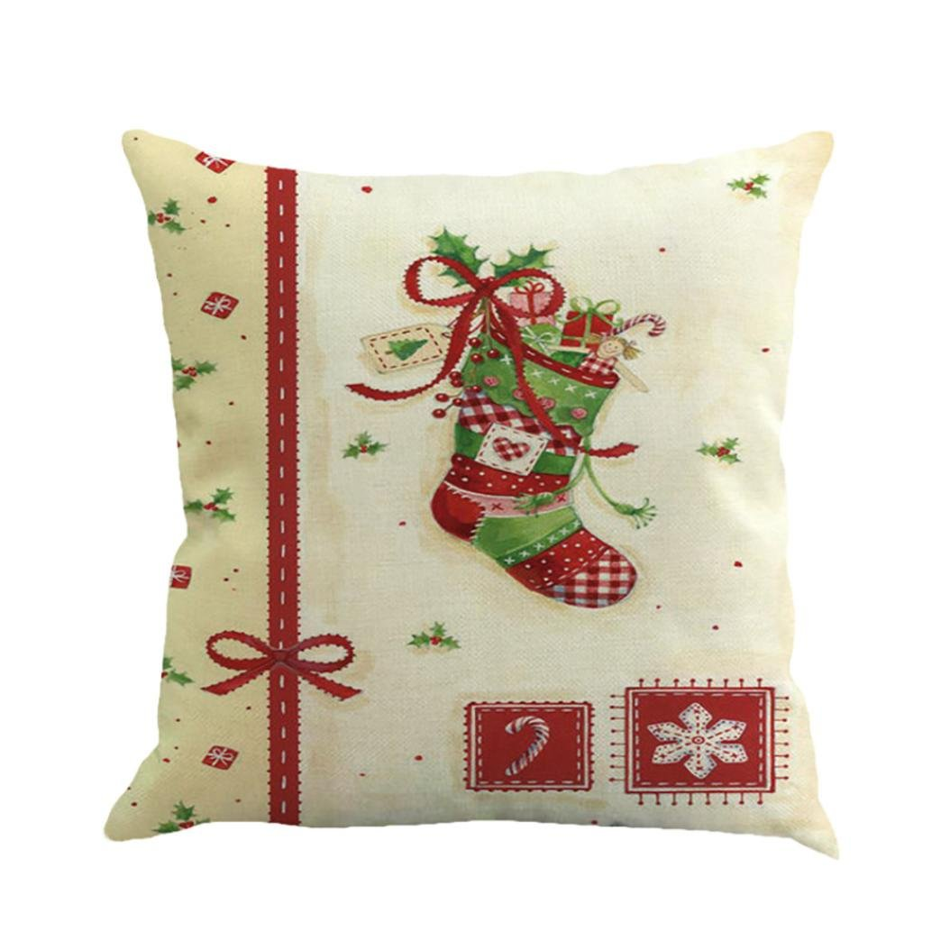 Kavitoz Hot Sale! Christmas Pillow Case, Printing Dyeing Sofa Bed Home Decor Xmas Pillow Cover Festival Party Coffee Cushion Cover 45cmx45cm By (B)